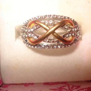Infinity ring size 7 silver w/gold infinity accent
